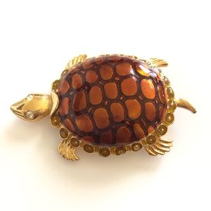 Don-Lin Gold and Amber Enameled Sea Turtle Brooch